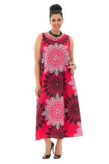 Robe grande taille évasée rose avec un col rond Daily 293579