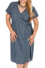 Robe grande taille habillée à coeur croisé Ludivina