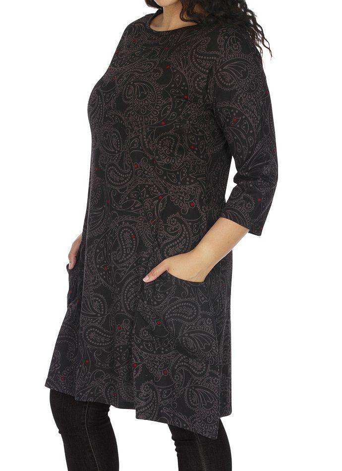 Robe grande taille imprimée aux manches 3/4 Annaba grise 313461