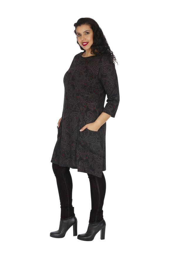 Robe grande taille imprimée aux manches 3/4 Annaba grise 313462