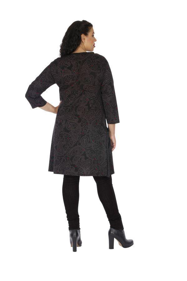 Robe grande taille imprimée aux manches 3/4 Annaba grise 313463