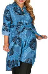 Robe grande taille imprimée et col chemise original Audrey 309792