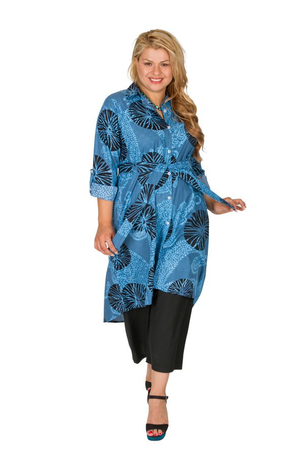 Robe grande taille imprimée et col chemise original Audrey 309793