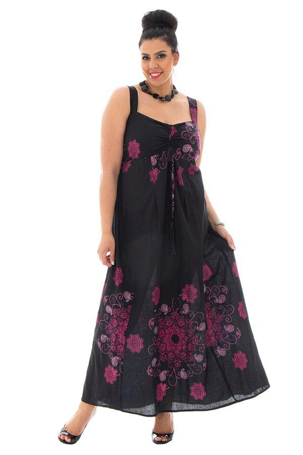 Robe grande taille l g re avec imprim s originaux noire samuelle - Robe d hotesse grande taille ...