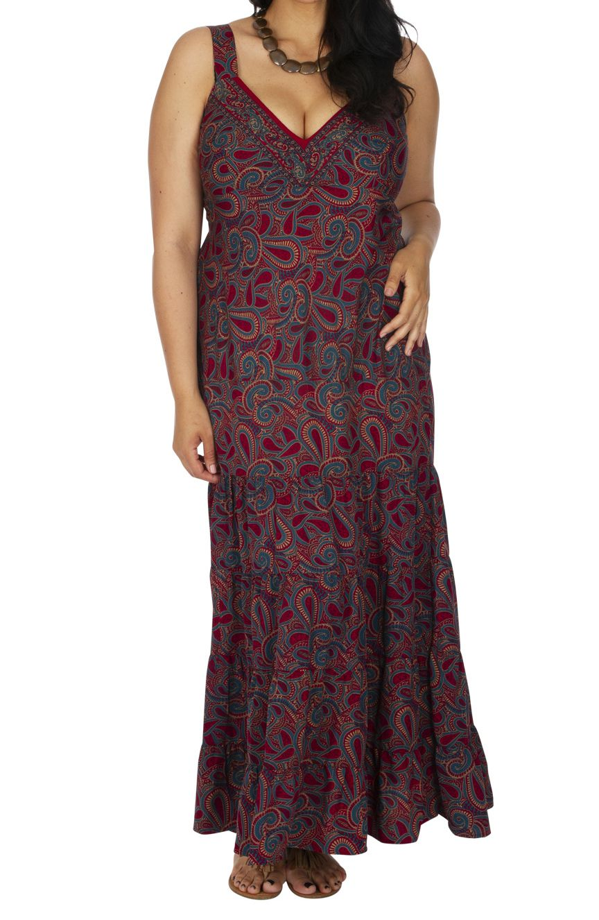 Robe Grande Taille Longue Soiree Bordeaux Femme Ronde Naima