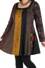 Robe grande taille Marron à panneaux avec imprimés originaux Sunna 302176