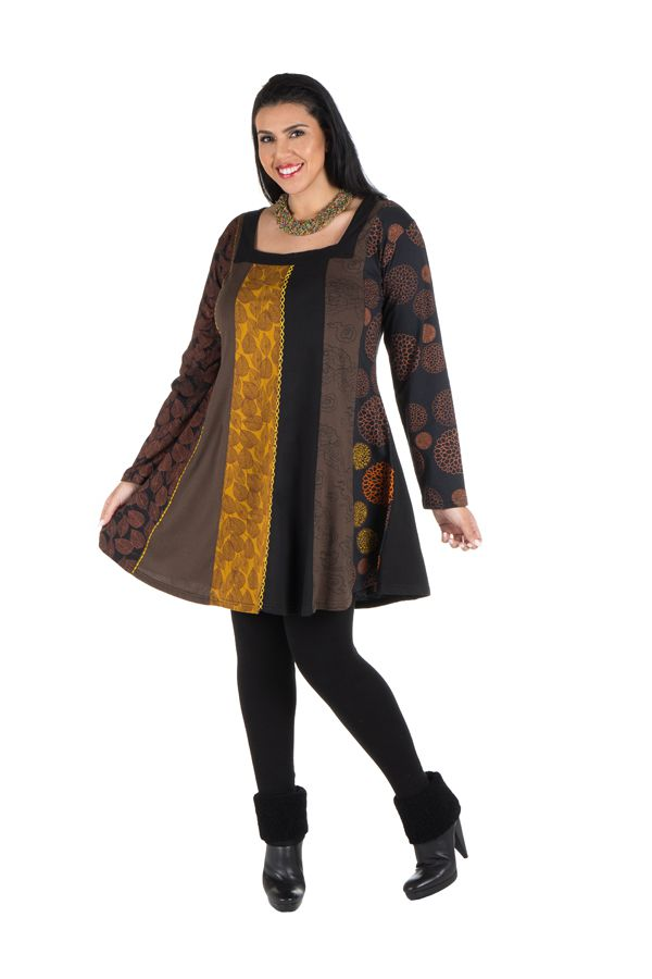Robe grande taille Marron à panneaux avec imprimés originaux Sunna 302177