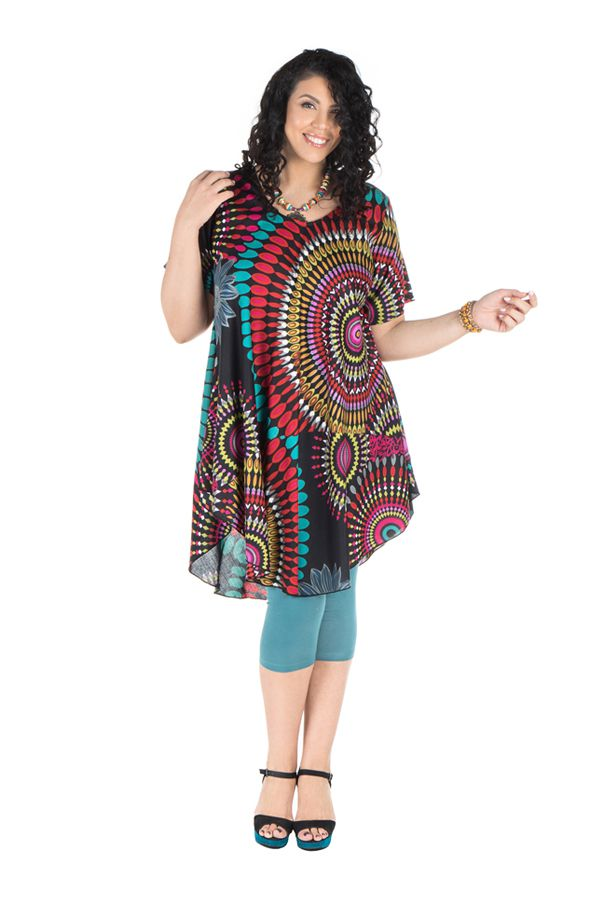 Robe Grande Taille Mi Longue Avec Imprime Seventies Kimi