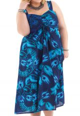 Robe grande taille mi-longue Ethnique et Originale Roxane Bleue 284275