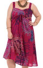 Robe grande taille mi-longue Ethnique et Originale Roxane Rose 284284