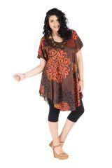 Robe grande taille mi-longue légère et ethnique avec col rond Rexha 296398