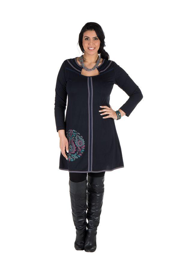 Robe grande taille originale avec imrpimé et col fantaisie Melle 301928