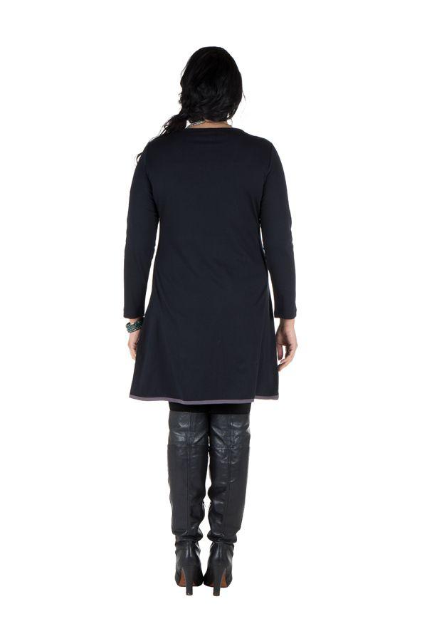 Robe grande taille originale avec imrpimé et col fantaisie Melle 301930