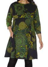 Robe grande taille originale et colorée Annaba verte 313458
