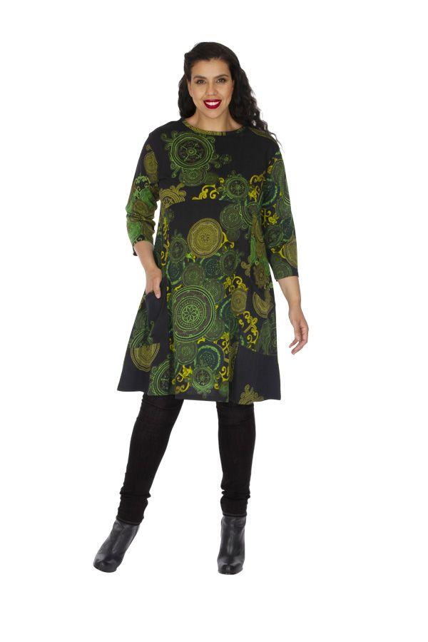 Robe grande taille originale et colorée Annaba verte 313459