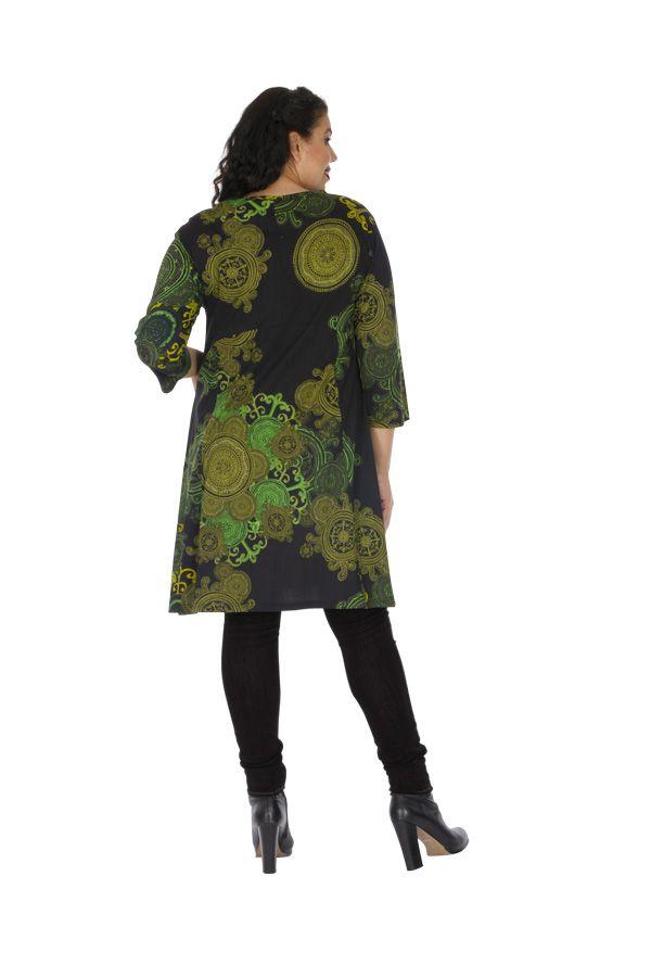 Robe grande taille originale et colorée Annaba verte 313460