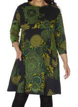Robe grande taille originale et colorée Annaba verte 315573