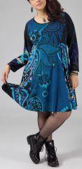 Robe grande taille style patineuse Ethnique et Colorée Kaina Bleue 274906