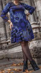 Robe grande taille style patineuse Ethnique et Colorée Kaina Indigo 274905
