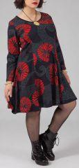 Robe grande taille style patineuse Ethnique et Colorée Kaina Rouge 274907