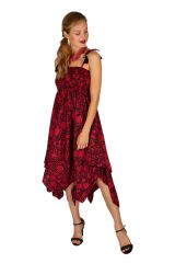 Robe habillée rouge convertible en jupe longue originale Fina 306157
