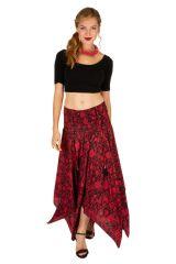 Robe habillée rouge convertible en jupe longue originale Fina 306158