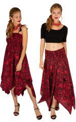 Robe habillée rouge convertible en jupe longue originale Fina 306159