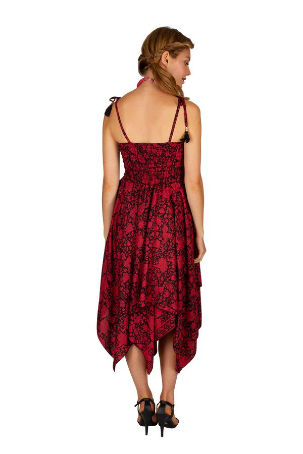 Robe habillée rouge convertible en jupe longue originale Fina 306160