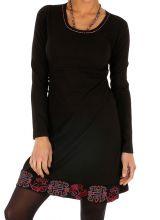 Robe hiver courte noire très stylée et ethnique Dékoa 313880