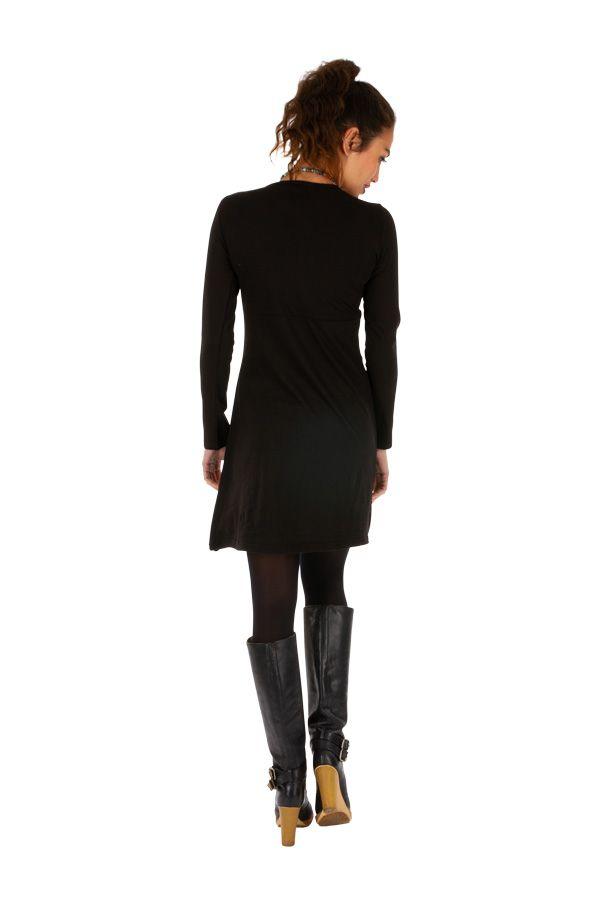 Robe hiver courte noire très stylée et ethnique Dékoa 313882