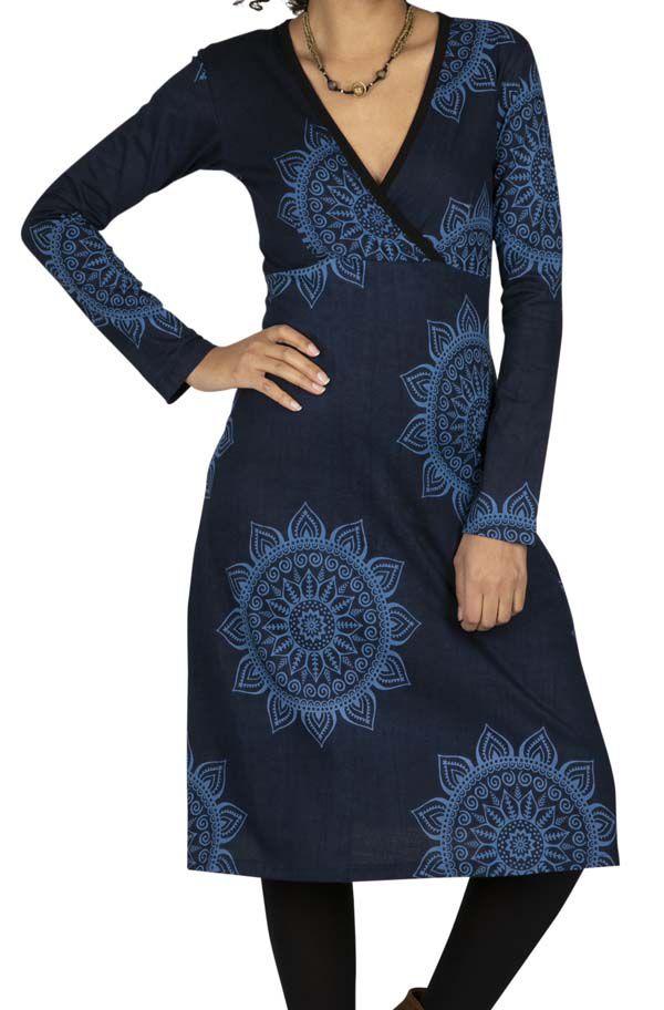 Robe hiver femme avec imprimé mandala de fleurs Iris