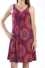 robe idéale été avec col en v et imprimés fantaisies mauve Sockna 290859