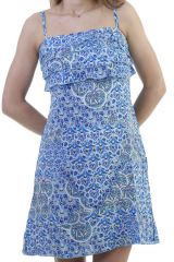 Robe idéale pour l'été avec volants et imprimés ethniques Asarine 296462