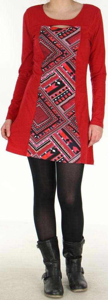 Robe idéale pour Soirée Originale et Ethnique Angie Rouge 278984