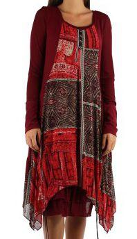 Robe imprimé originale de couleur bordeaux Charlotte 302651