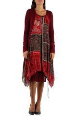 Robe imprimé originale de couleur bordeaux Charlotte 302652