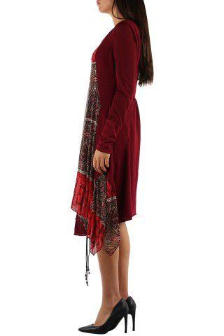 Robe imprimé originale de couleur bordeaux Charlotte 302653