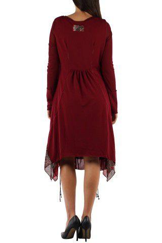 Robe imprimé originale de couleur bordeaux Charlotte 302654