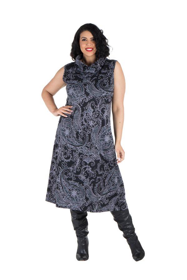 Robe imprimé tendance et col roulé ample et chic Pauline 300641