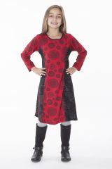 Robe imprimée à col rond noire et rouge pour fille 286371