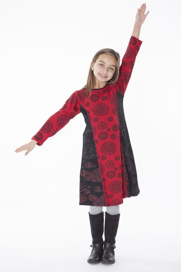 Robe imprimée à col rond noire et rouge pour fille 286372