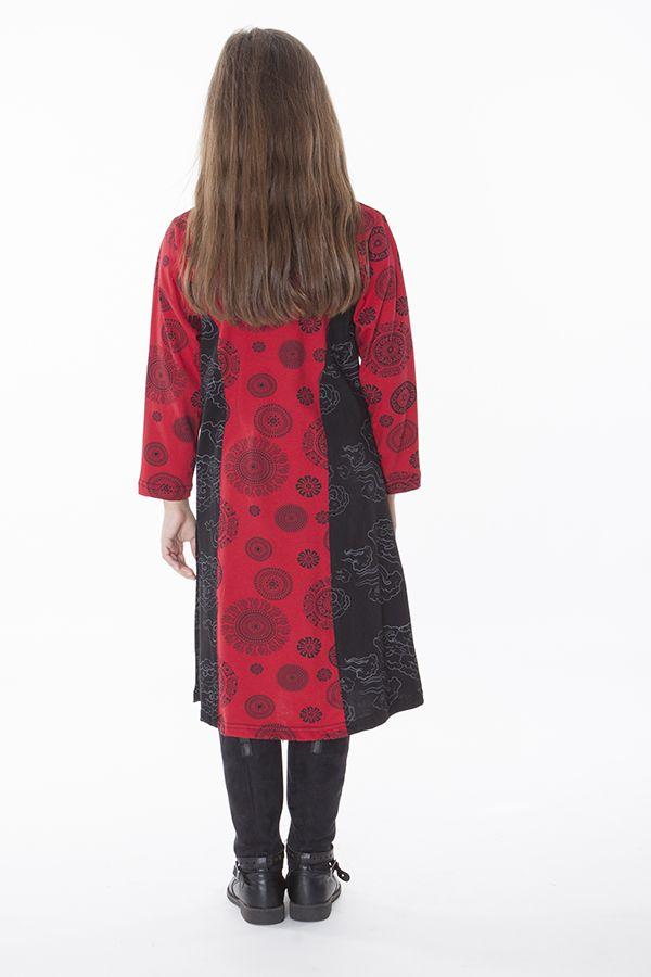 Robe imprimée à col rond noire et rouge pour fille 286373
