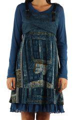 Robe imprimée à manches longues ethnique Dany Bleu 303128