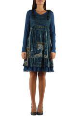 Robe imprimée à manches longues ethnique Dany Bleu 303129