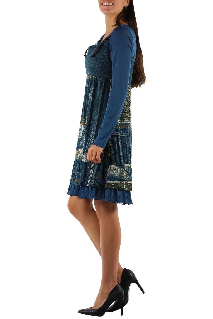 Robe imprimée à manches longues ethnique Dany Bleu 303130
