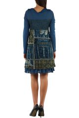 Robe imprimée à manches longues ethnique Dany Bleu 303131