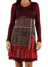 Robe imprimée à manches longues ethnique Dany Rouge 303124