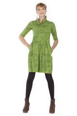 Robe imprimée à manches ¾ et effet col roulé Abéba verte 285354