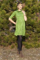 Robe imprimée à manches ¾ et effet col roulé Abéba verte 285355