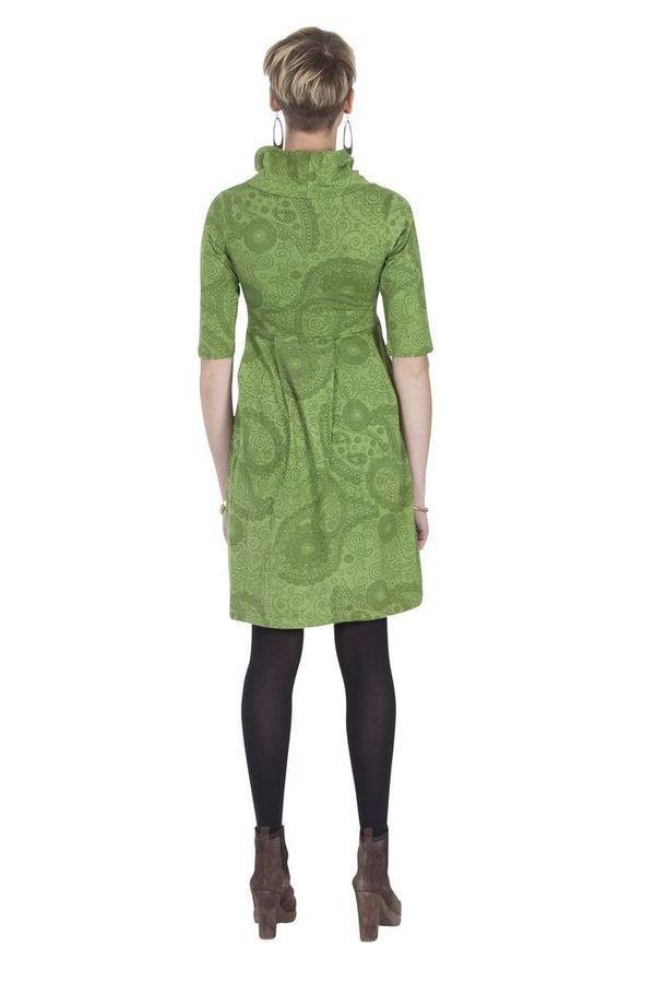 Robe imprimée à manches ¾ et effet col roulé Abéba verte 285356